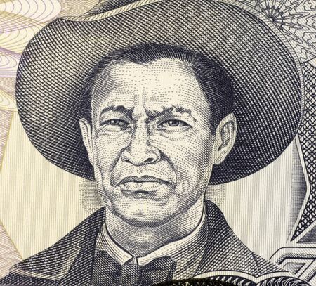 nicaraguan: Augusto Cesar Sandino (1895-1934) on 1000 Gordobas 1985 Banknote from Nicaragua. Nicaraguan revolutionary and leader of a rebellion against the U.S. military occupation.