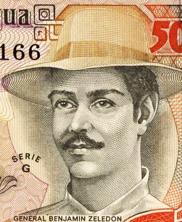 nicaraguan: Benjamin Zeledon (1879-1912) on 5000 Gordobas 1985 Banknote from Nicaragua. Lawyer, politician and Nicaraguan military awarded the posthumous title of National Hero of Nicaragua.