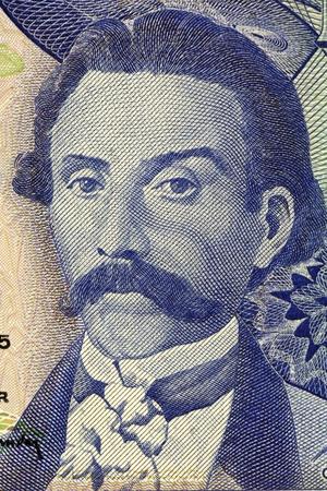 banknote uncirculated: Camilo Castelo Branco (1825-1890) on 100 Escudos 1965 Banknote from Portugal. Prolific Portuguese writer. Stock Photo