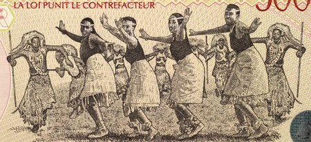 banknote uncirculated: Dancers on 5000 Francs 1998 Banknote from Rwanda. Stock Photo