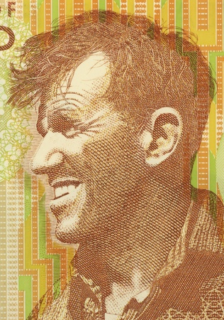 papermoney: Edmund Hillary (1919-2008) on 5 Dollars 1999 Banknote from New Zealand. New Zealand mountaineer, explorer and philanthropist. Stock Photo