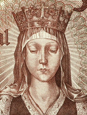 unc: Elizabeth of Aragon (1271-1336) on 50 Escudos 1964 Banknote from Portugal. Queen consort of Portugal. Stock Photo