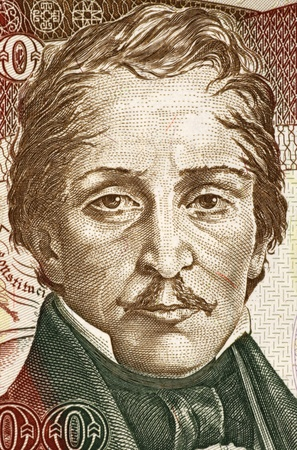 to paula: Francisco de Paula Santander (1792-1840) on 500 Pesos Oro 1993 Banknote from Colombia. Colombian military and political leader during the war for independence. Stock Photo
