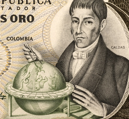 naturalist: Francisco Jose de Caldas (1768-1816) on 20 Pesos Oro 1983 Banknote from Colombia. Colombian lawyer, naturalist and geographer who died a martyr during the Reconquista for being a precursor of the Independence of Colombia.