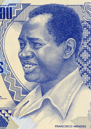 unc: Francisco Mendes (1939-1978) on 500 Pesos 1990 Banknote from Guinea Bissau. First Prime Minister until his assassination.  Stock Photo