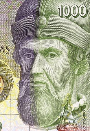 banknote uncirculated: Francisco Pizarro (14711476-1541) on 1000 Pesetas 1992 Banknote From Spain. Spanish Conquistador.