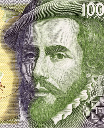 conquistador: Hernan Cortes (1485-1547) on 1000 Pesetas 1992 Banknote From Spain. Spanish Conquistador who led an expedition that caused the fall of the Aztec Empire.