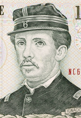 banknote uncirculated: Ignacio Carrera Pinto (1848-1882) on 1000 Pesos 2007 Banknote from Chile. Chilean hero of the War of the Pacific.