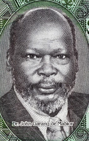 banknote uncirculated: John Garang de Mabior (1945-2005) on 1 Pound 2011 Banknote from South Sudan. Sudanese politician and rebel leader.