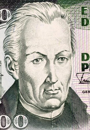 banknote uncirculated: Jose Celestino Mutis (1732-1808) on 200 Pesos Oro 1992 Banknote from Colombia. Spanish botanist and mathematician. Stock Photo