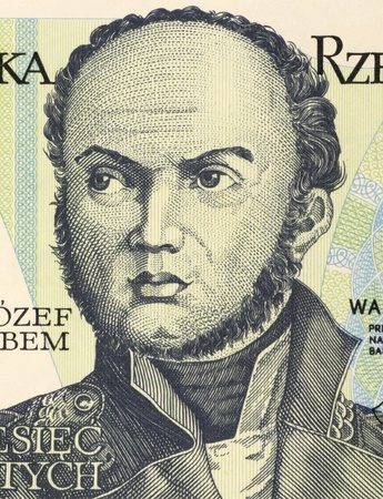 unc: Josef Bem (1794-1850) on 10 Zlotych 1982 Banknote from Poland. Polish general national hero of Poland and Hungary. Stock Photo
