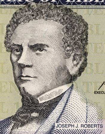 banknote uncirculated: Joseph Jenkins Roberts (1809-1876) on 10 Dollars 2009 Banknote from Liberia. 1st and 7th President of Liberia.