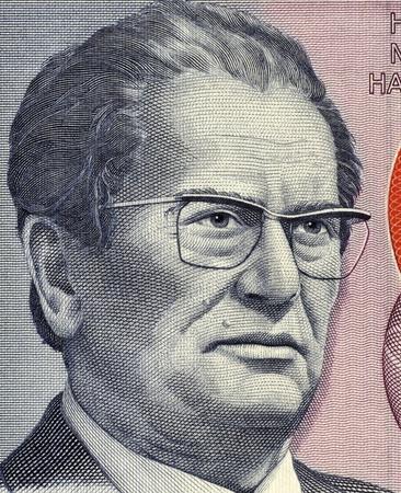 statesman: Josip Broz Tito (1892-1980) on 5000 Dinara 1985 Banknote from Yugoslavia. Yugoslav revolutionary and statesman, ruling in various roles during 1945-1980. Stock Photo