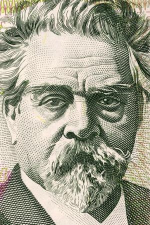 national poet: Juan Zorrilla de San Martin (1855-1931) on 20 Pesos Uruguayos 2008 Banknote from Uruguay. National Poet of Uruguay and political figure.
