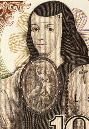 banknote uncirculated: Juana Ines de la Cruz (1651-1695) on 1000 Pesos 1984 Banknote from Mexico. Self-taught scholar and poet of the Baroque school, and nun of New Spain. Stock Photo
