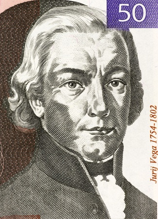 Jurij Vega (1754-1802) on 50 Tolarjev 1992 Banknote from Slovenia. Slovenian mathematician, physicist and artillery officer. Stock Photo - 12812919