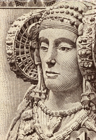 unc: Lady of Elche on 1 Peseta 1948 Banknote from Spain. The Lady of Elche is a sculpture of limestone bust of a woman, dated fifth century or fourth century BC.