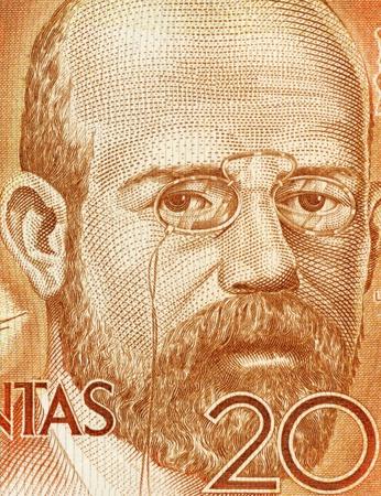 banknote uncirculated: Leopoldo Alas aka Clarin (1852-1901) on 200 Pesetas 1980 Banknote From Spain. Asturian realist novelist born in Zamora.