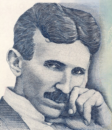 unc: Nikola Tesla on 100 Dinara 2006 Banknote from Serbia. Best known as the Father of Physics. Stock Photo