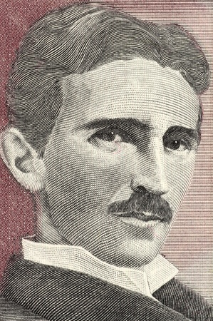 Nikola Tesla (1856-1943), le 5 Novih Dinara 1994 billets de la Yougoslavie. Mieux connu comme le père de la physique. Banque d'images - 12813092