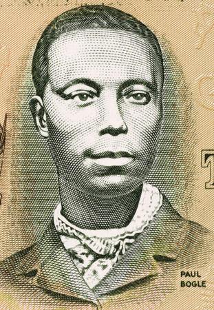 national hero: Paul Bogle (1820-1865) on 2 Dollars 1993 Banknote from Jamaica. Jamaican Baptist deacon and national hero.