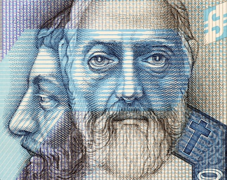unc: Saints Cyril and Methodius on 50 Korun 2005 Banknote from Slovakia. Byzantine Greek brothers who became missionaries of Christianity among the Slavic peoples of Bulgaria, Great Moravia and Pannonia. They are credited with devising the Glagolitic alphabet,