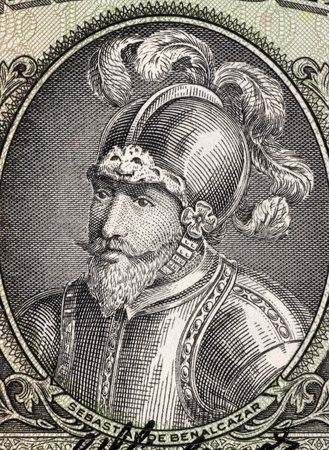 Sebastian de Belalcazar (1479 or 1480-1551)  on 10 Sucres 1988 Banknote from Ecuador. Spanish conquistador. photo