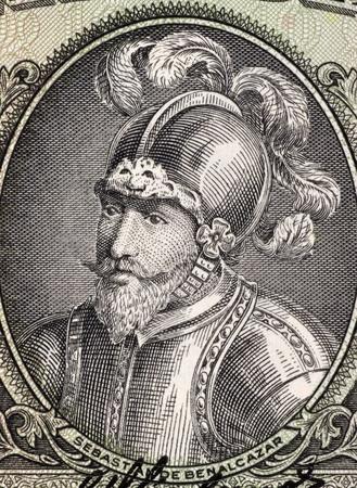 unc: Sebastian de Belalcazar (1479 or 1480-1551)  on 10 Sucres 1988 Banknote from Ecuador. Spanish conquistador.