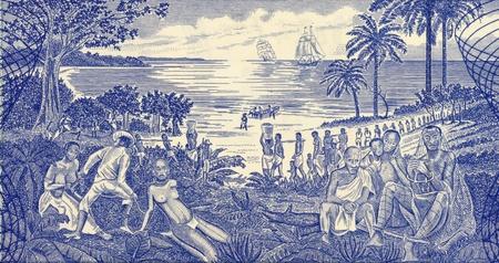 esclavo: Esclavo escena del comercio en 500 Pesos 1990 Billetes de Guinea Bissau.