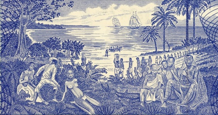 slavery: Slave Trade Scene on 500 Pesos 1990 Banknote from Guinea Bissau.
