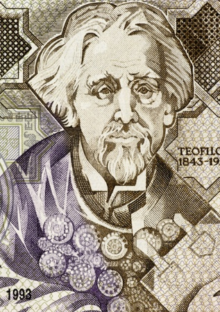 elected: Teofilo Braga (1843-1924) on 1000 Escudos 1993 Banknote from Portugal. Portuguese writer, playwright, politician and leader of the Republican Provisional Government after the abdication of King Manuel II, as well as the second elected President of the Fir