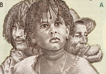 papermoney: Three Generations of Eritreans on 5 Nakfa 1997 Banknote from Eritrea. Stock Photo