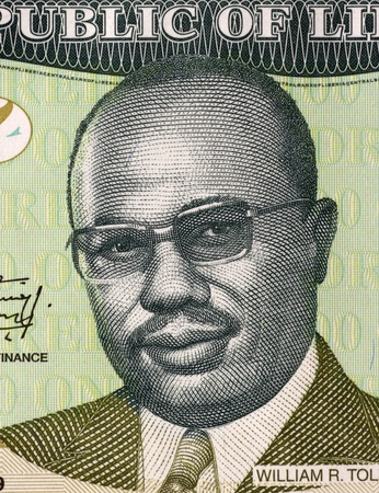 banknote uncirculated: William Tolbert Jr. (1913-1980) on 100 Dollars 2009 Banknote from Liberia. 20th President of Liberia during 1971-1980.