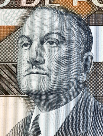 banknote uncirculated: Antonio Sergio (1883-1969) on 5000 Escudos 1985 Banknote from Portugal. Portuguese educationist, philosopher, journalist, sociologist and essayist. Stock Photo