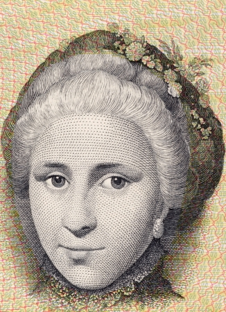 banknote uncirculated: Catherine Sophie Kirchhoff on 10 Kroner 1972 Banknote from Denmark.