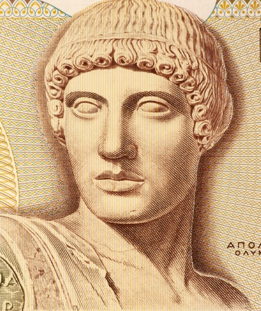 greek currency: God Apollo on 1000 Drachmes 1987 Banknote from Greece. The god of light and the sun, truth and prophecy, medicine and healing, archery, music, poetry, arts and more.