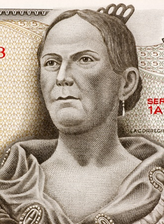 banknote uncirculated: Josefa Ortiz de Dominguez (1773-1829) on 5 Pesos 1971 Banknote from Mexico. Insurgent and supporter of the Mexican war of independence against Spain.