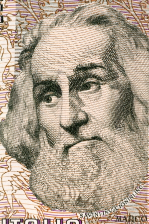 marco: Marco Polo (1254-1324) on 1000 Lire 1982 Banknote from Italy. Venetian merchant traveler.