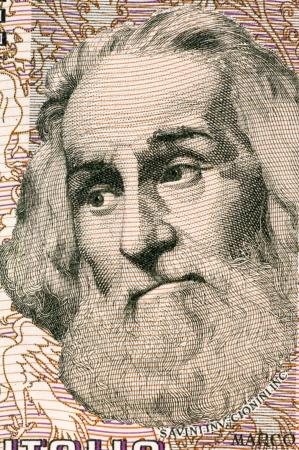Marco Polo (1254-1324) sur 1000 Lire 1982 billets en provenance d'Italie. Voyageur marchand vénitien. Banque d'images - 14286238
