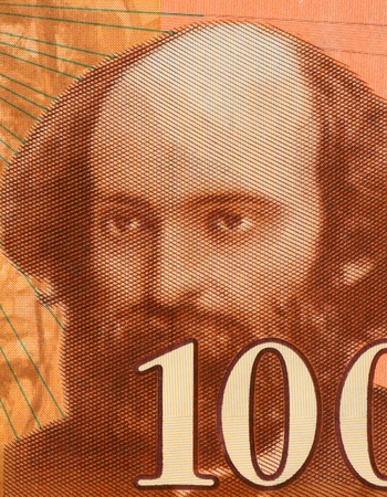unc: Paul Cezanne (1839-1906) on 100 Francs 1997 Banknote from France. Influential French artist and Post-Impressionist painter. Stock Photo