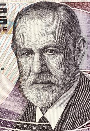 Sigmund Freud (1856-1939) on 50 Shilling 1986 Banknote from Austria. Austrian neurologist who founded the discipline of psychoanalysis. Standard-Bild