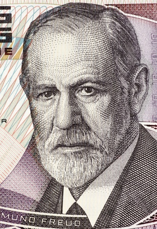 Sigmund Freud (1856-1939) on 50 Shilling 1986 Banknote from Austria. Austrian neurologist who founded the discipline of psychoanalysis. Stock Photo