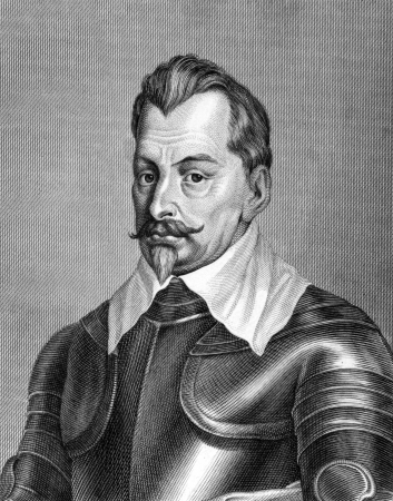 albrecht: Albrecht von Wallenstein (1583-1634) on engraving from 1859. Military leader and politician. Engraved by C.Barth and published in Meyers Konversations-Lexikon, Germany,1859. Editorial