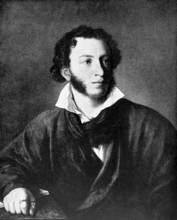 Alexander Pushkin (1799-1837) on antique print from 1899. One of the greatest Russian poets. After W.Tropinin and published in the 19th century in portraits, Germany, 1899.