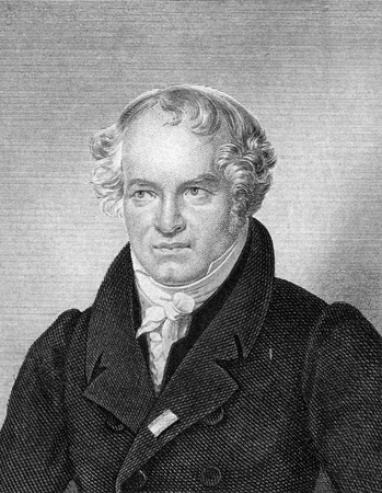 naturalist: Alexander von Humboldt (1769-1859) on engraving from 1859. Prussian geographer, naturalist and explorer. Engraved by F.Scober and published in Meyers Konversations-Lexikon, Germany,1859.