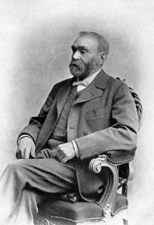 Alfred Nobel (1833-1896) on antique print from 1899.  Swedish chemist, engineer, innovator and armaments manufacturer. After G.Flormann and published in the 19th century in portraits, Germany, 1899.