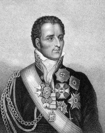 statesman: Arthur Wellesley, 1 � duca di Wellington (1769-1852) su incisione dal 1859. Soldato britannico e statista. Incisione di E.Bahmann e pubblicato in Meyers Konversations-Lexikon, Germania, 1859.