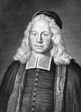 theologian: August Herman Franck (1663-1727) on engraving from 1859. German theologian and educator. Engraved by unknown artist and published in Meyers Konversations-Lexikon, Germany,1859. Editorial