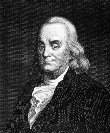 Benjamin Franklin (1706-1790) on engraving from 1859. One of the Founding Fathers of the United States. Engraved by Nordheim and published in Meyers Konversations-Lexikon, Germany,1859.