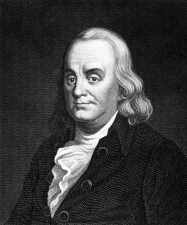 Benjamin Franklin (1706-1790) auf Stich aus 1859. Einer der Gr�nderv�ter der Vereinigten Staaten. Gestochen von Nordheim und ver�ffentlicht in Meyers Konversations-Lexikon, Deutschland, 1859.